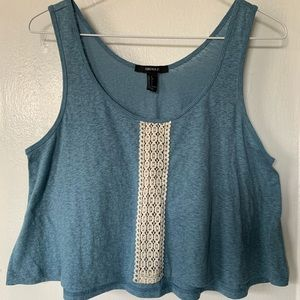 Forever 21 Blue Tank Top with Lace Front